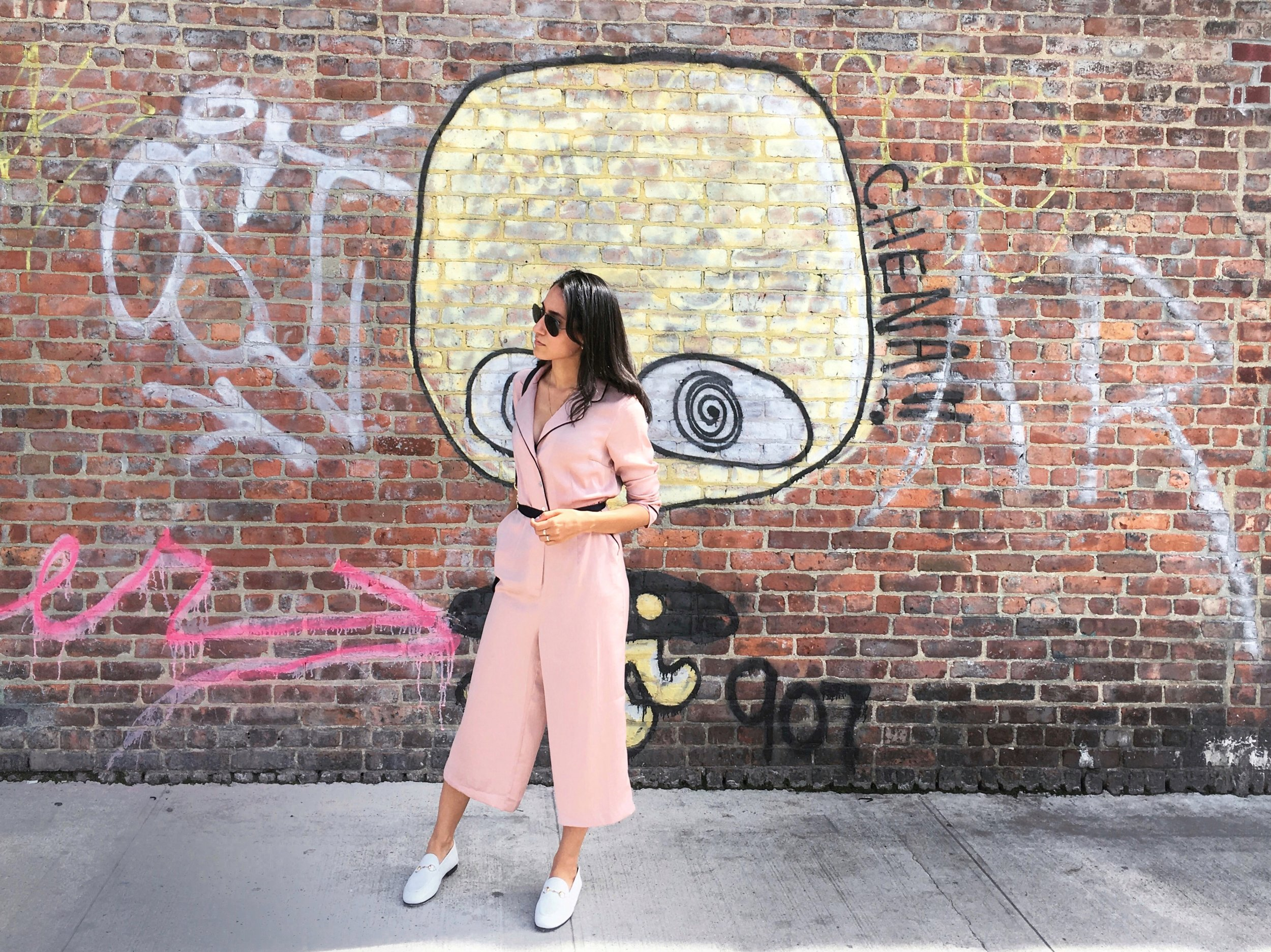 Wearing:  ASOS jumpsuit, Gucci loafers