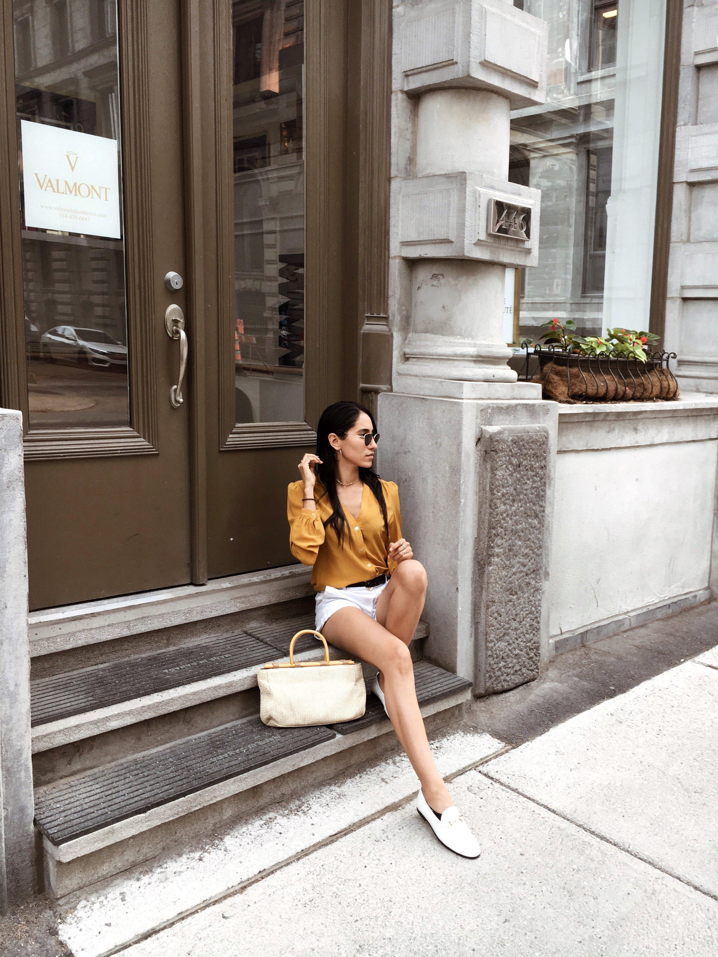 Wearing:  Tory Burch  Top  | Banana Republic  Shorts  | Gucci  Loafers