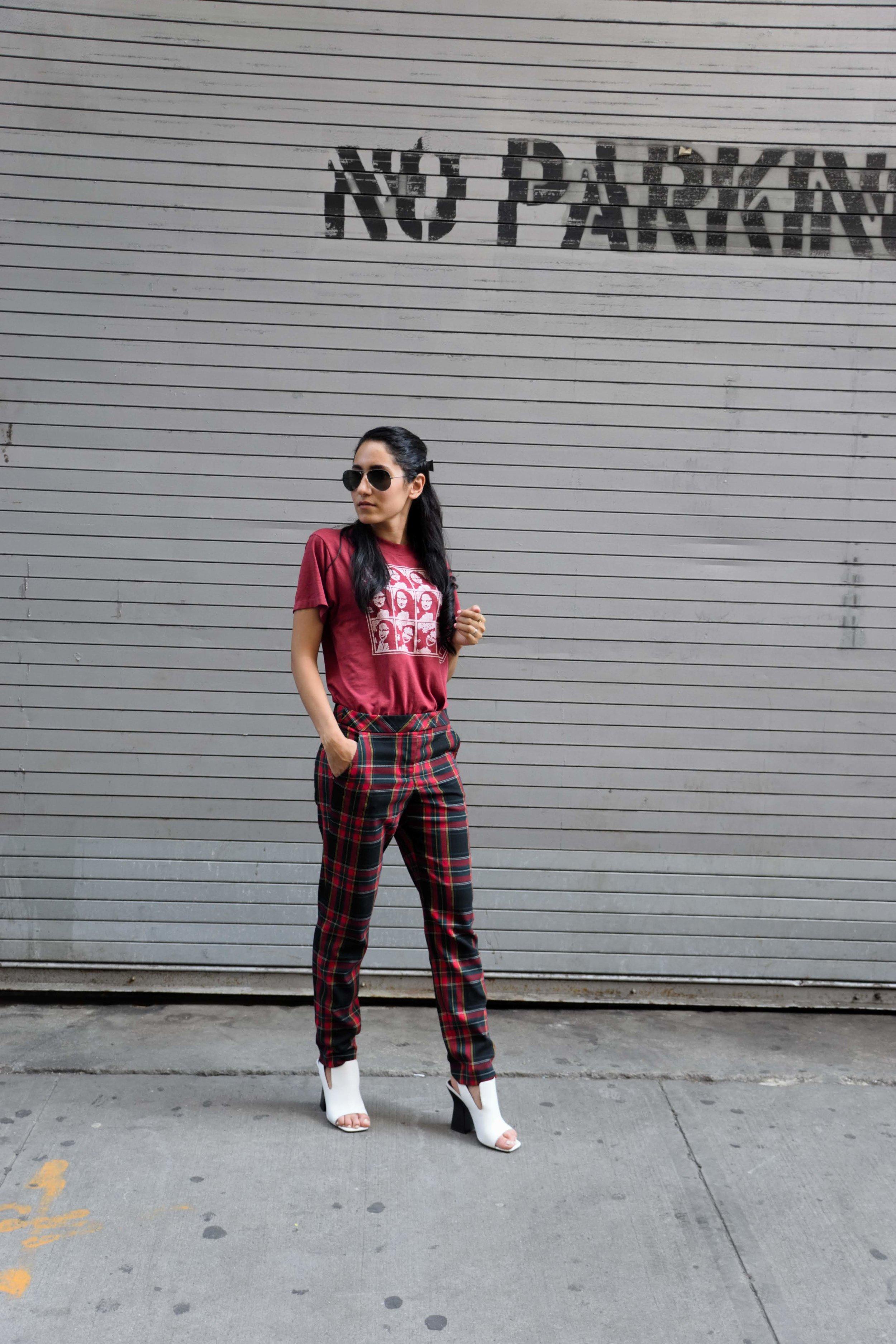 Wearing: Vintage Mona Lisa (similar) shirt  | Trina Turk (similar)  pants  | Celine shoes
