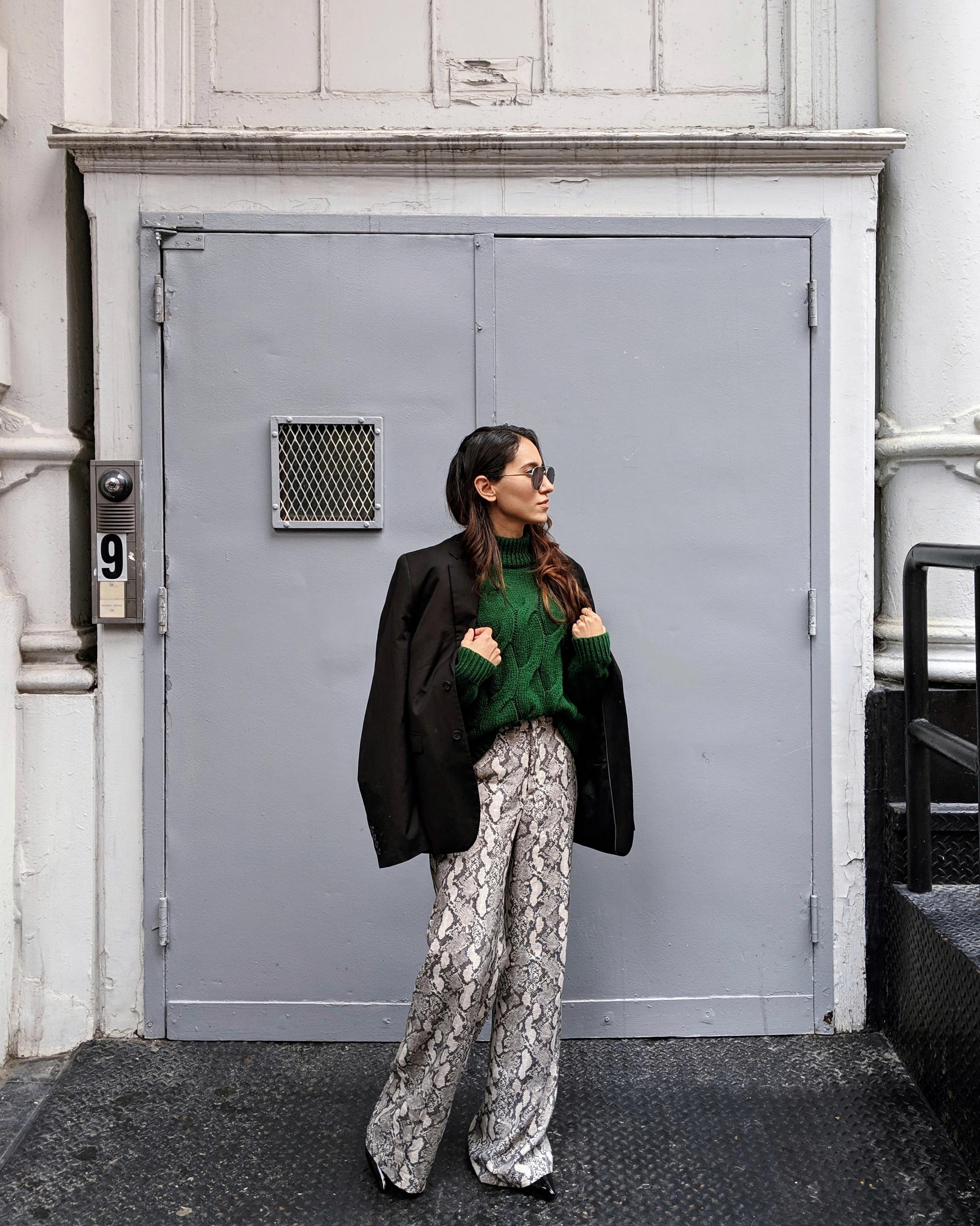 Wearing: H&M  sweater , H&M   pants  , H&M   blazer