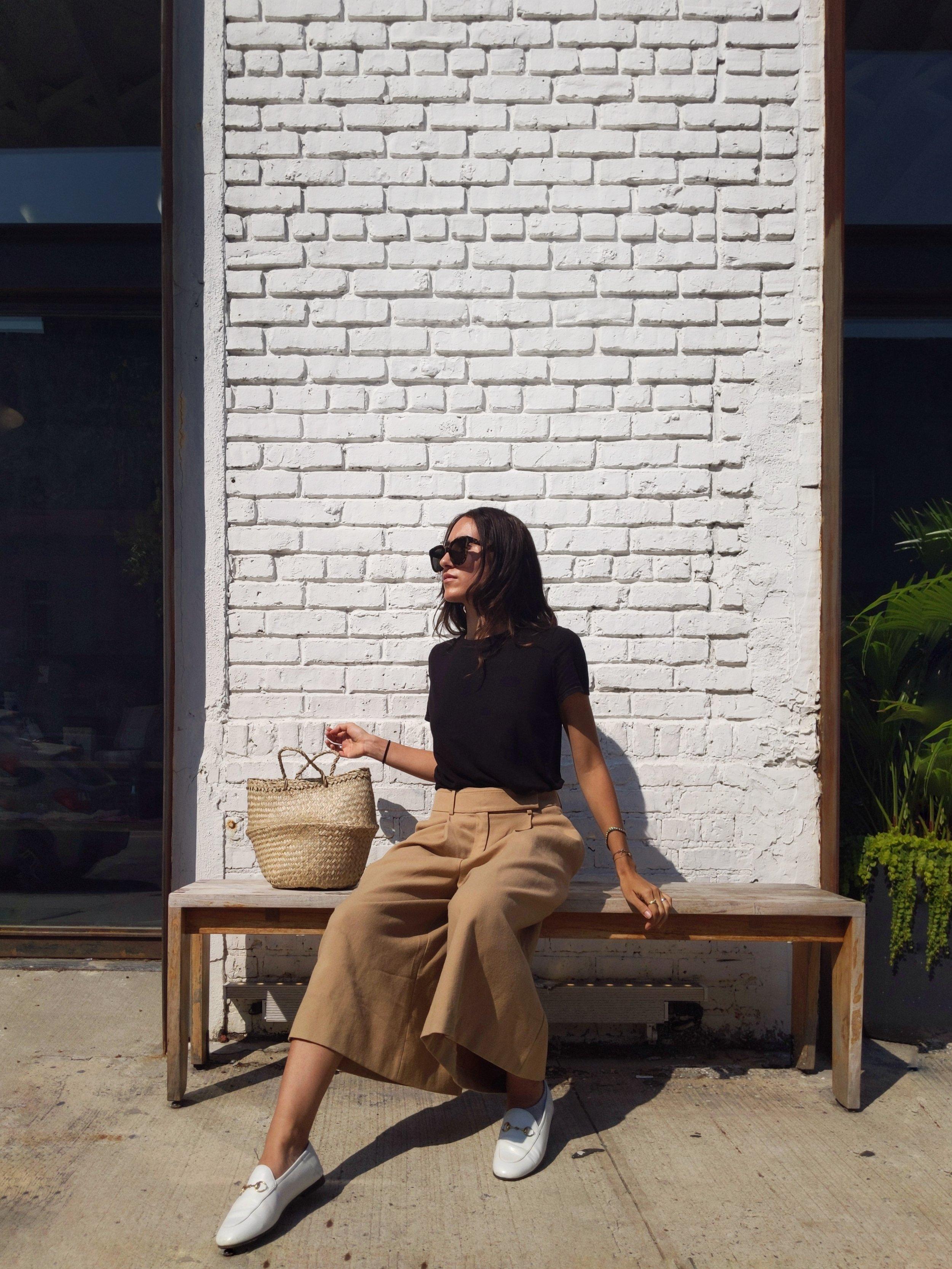 Wearing: F21  top  | Jil Sander Navy  pants  | Sephora  straw bag
