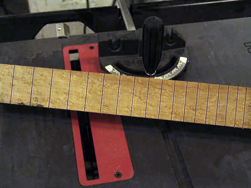 NRE BIRDSEYE MAPLE FRETBOARD IS SLOTTED FOR FRETS