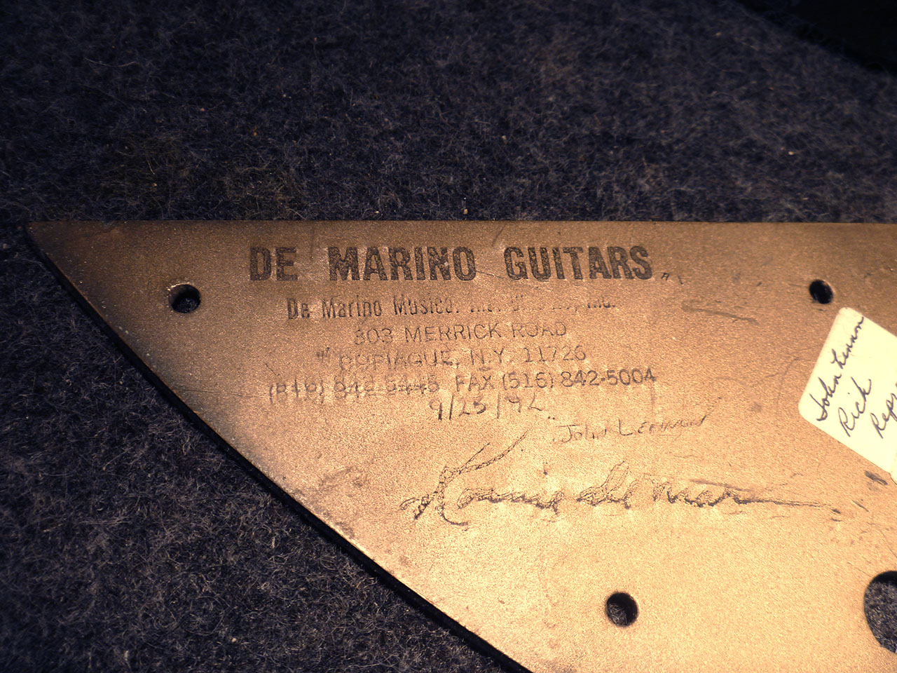 PICKGUARD WAS SOURCED FROM LENNON'S NYC LUTHIER,  RON DI MARINO