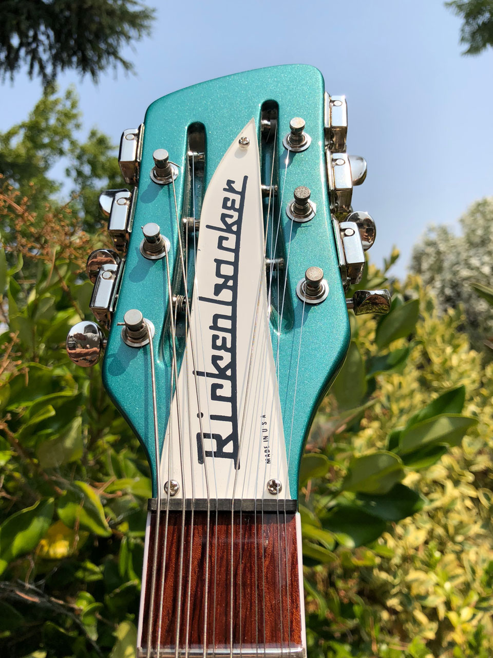 FINISH ON HEADSTOCK AND NAMEPLATE SHINE IN THE SUNLIGHT