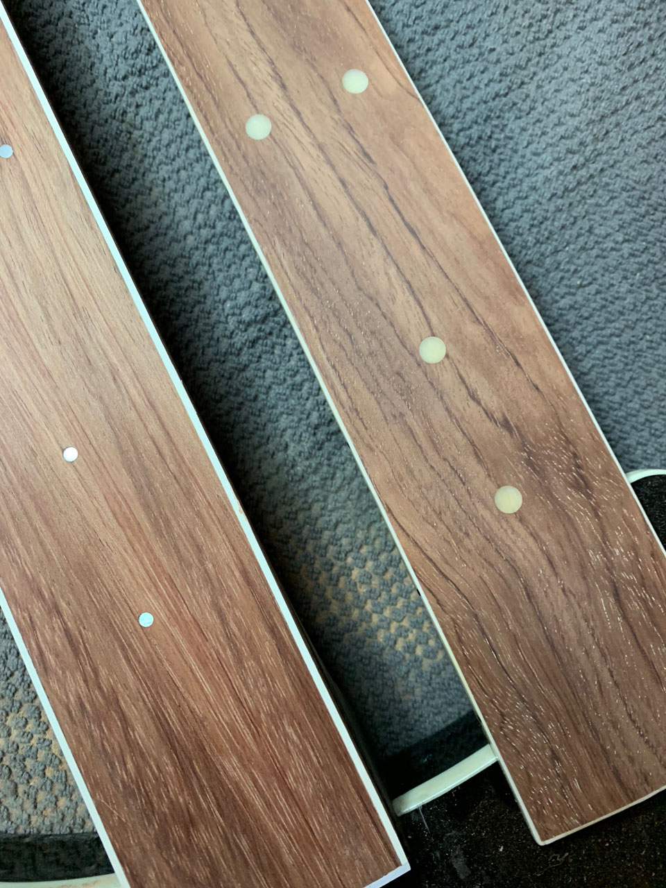 CUSTOMER REQUESTED SMALLER POSITION DOTS; NEW FRETBOARD WAS MADE