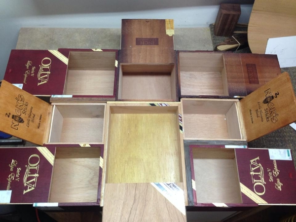Cigar box table with boxes open