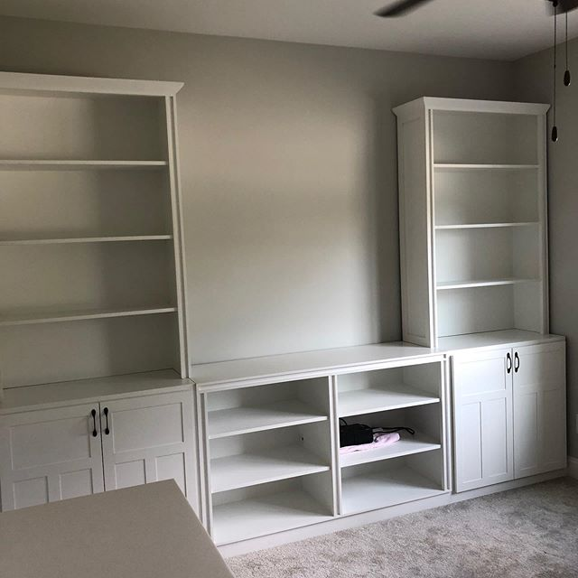 Semi built-ins for a client. Lots of white! #custommade #customfurniture #customdesign #whitebuiltins #whitefurniture #westknoxville b2designwp