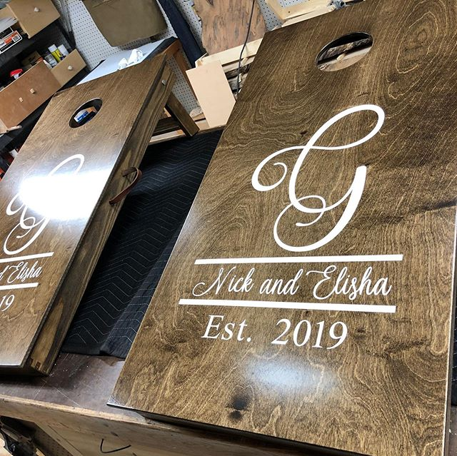 Ash and Baltic birch cornhole board set with bags and leather hardware for a wedding gift. #cornholeboards #vinyldecals #walnutstain #custommade #handmadecornholebags #knoxvilletennesse
