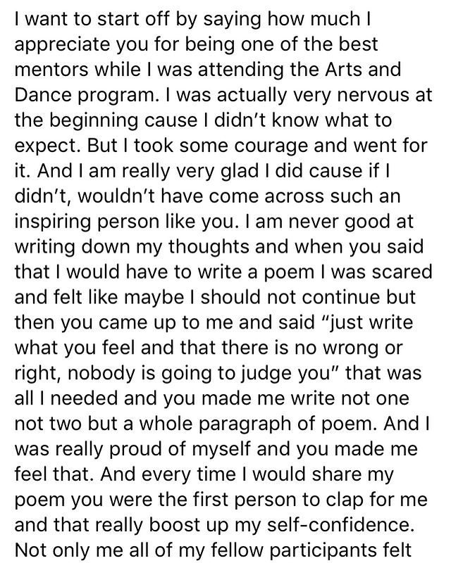 When youth participants from one of your programs make you cry.   So grateful to get to work with and learn from brilliant young women of colour like @__tenphanthok__ . The feeling is very mutual.  #cambium #cambiumartsandeducation #youtheducator #artseducation #woc #futureancestors #poetry #dance #testimonials #didi #community #cambiumtransforms