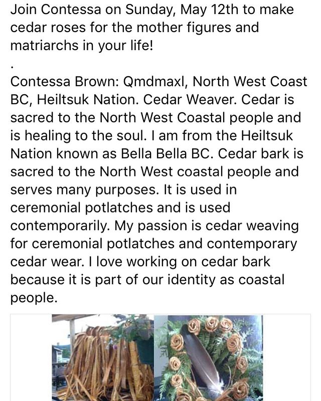 Very excited for this weekend's Mothers & Motherlands interactive exhibit & celebration! Cedar rose weaving! Wild seed recipe cards! A choir! Recording stations to share our matrilineal stories! Interactive storytelling with me! Full schedule: link in bio. #mothersday #motherland #mothers #matriarchs #cambium #arts