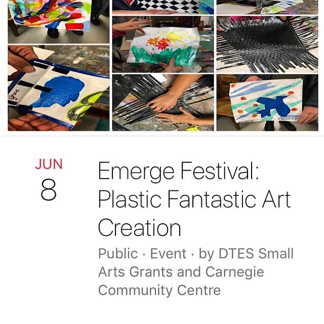 Many of you have asked when we'll be having a public session for our arts residency with Carnegie Community Centre. Today's the day! Join us from 2-4 pm. Sun Wah Center, 268 Keefer Street. Come make beautiful art out of upcycled plastic! Hammer on an old family anvil! Plastic Fantastic has been a huge hit in the DTES! Free!