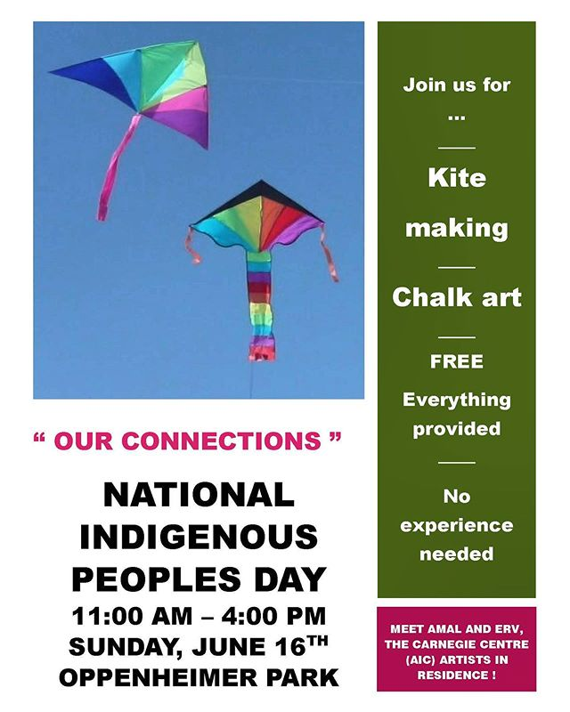 "Join us! This Sunday! Catch up with our year long ""Our Connections"" Arts Residency with Carnegie Community Centre. Create & fly beautiful kites! Experiment with chalk art! Bring yourself, your neighbours, friends, kids, elders, everyone! Free! All materials provided!"