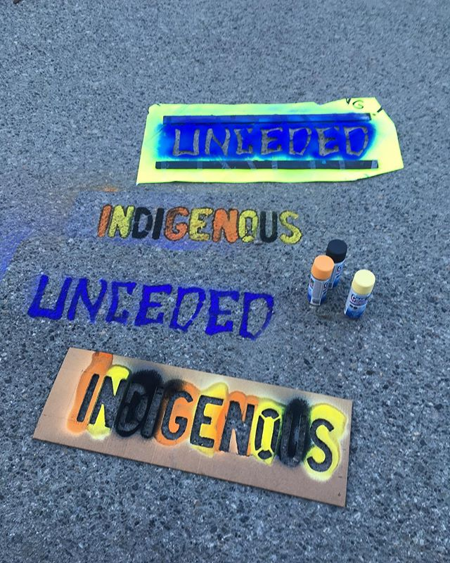 """Beta testing for tomorrow's """"Art From the Streets to the Skies"""" art activation for National Indigenous Peoples Day Celebrations at Oppenheimer Park! So much fun we don't want to stop! See you there, yes? Yes! 11 am - 4 pm"""