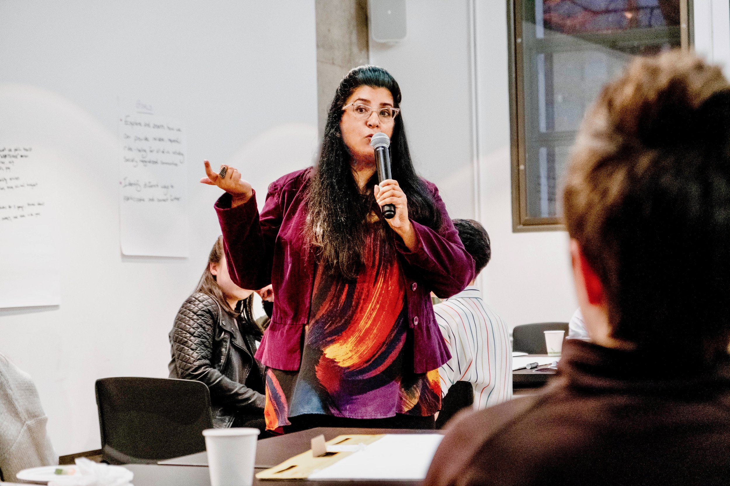 Cambium Principal and Creative Director Amal Rana facilitating a multi-stakeholder public engagement process.  Photo credit for this image and banner image: David Morino.