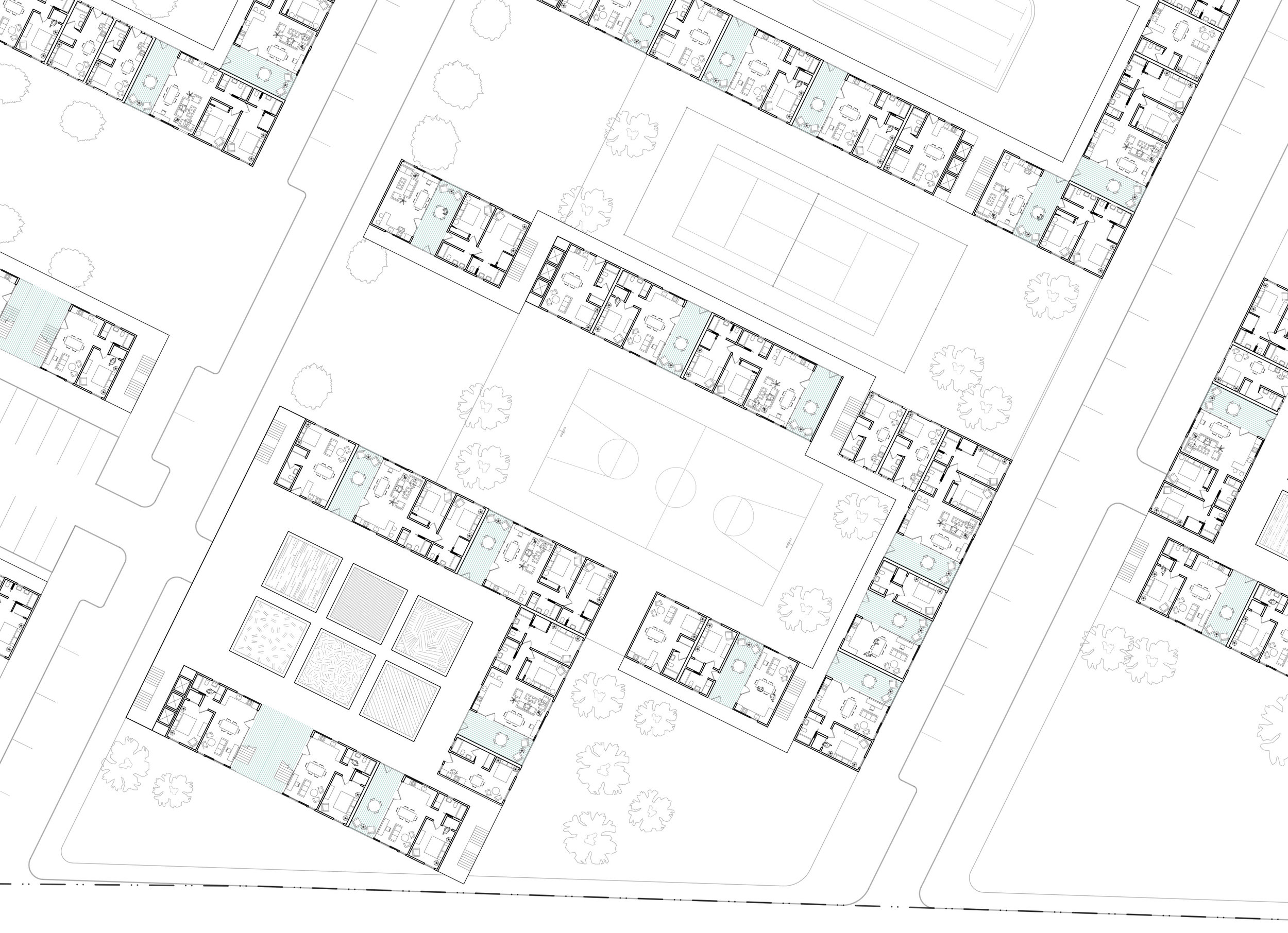 Variable System The formal system is derived from the courtyard type, but extends across streets. Unit orientation permits tenants to visually claim distant greens. Gardens set atop the parking garages permit communal aggregation above level 1.