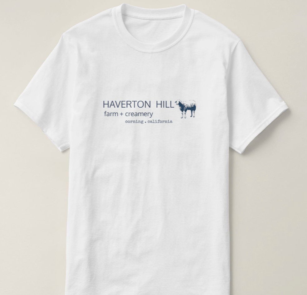 UNISEX FARM T $20-  WHITE with NAVY BLUE  ADULT S - 3X