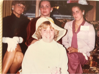 "Cast of Characters at the ""Fancy Dress"" Party   Ann Eichers Aas as the Duchess of Foxtail (Left)  Christine Adams as Princess Anne (Center)  Lynn Hamer as the Queen (Right)  Linda Grotta as a random ""Lady""  (Front Center)"