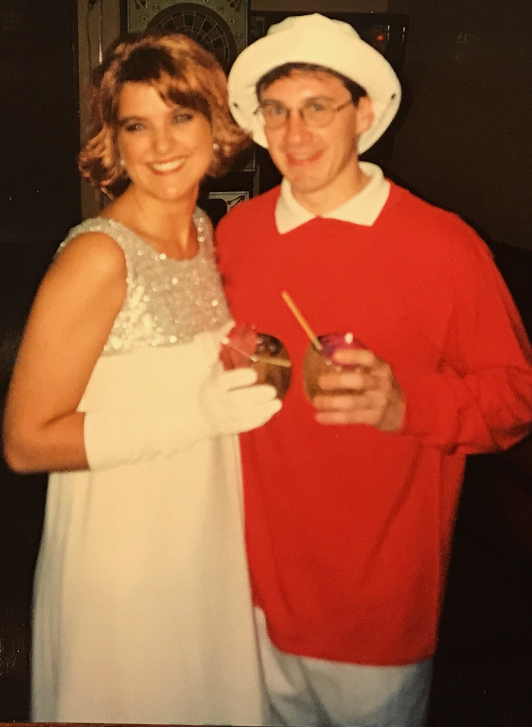 We always did like Halloween! In this group costume theme, Tad was our fearless leader, Gilligan and I was Ginger!