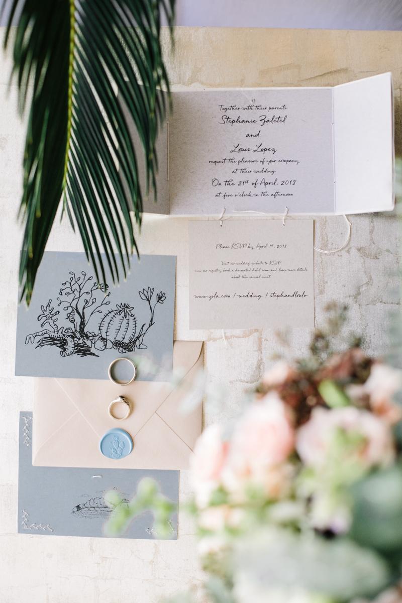 Invitation and Bouquet palm floral details