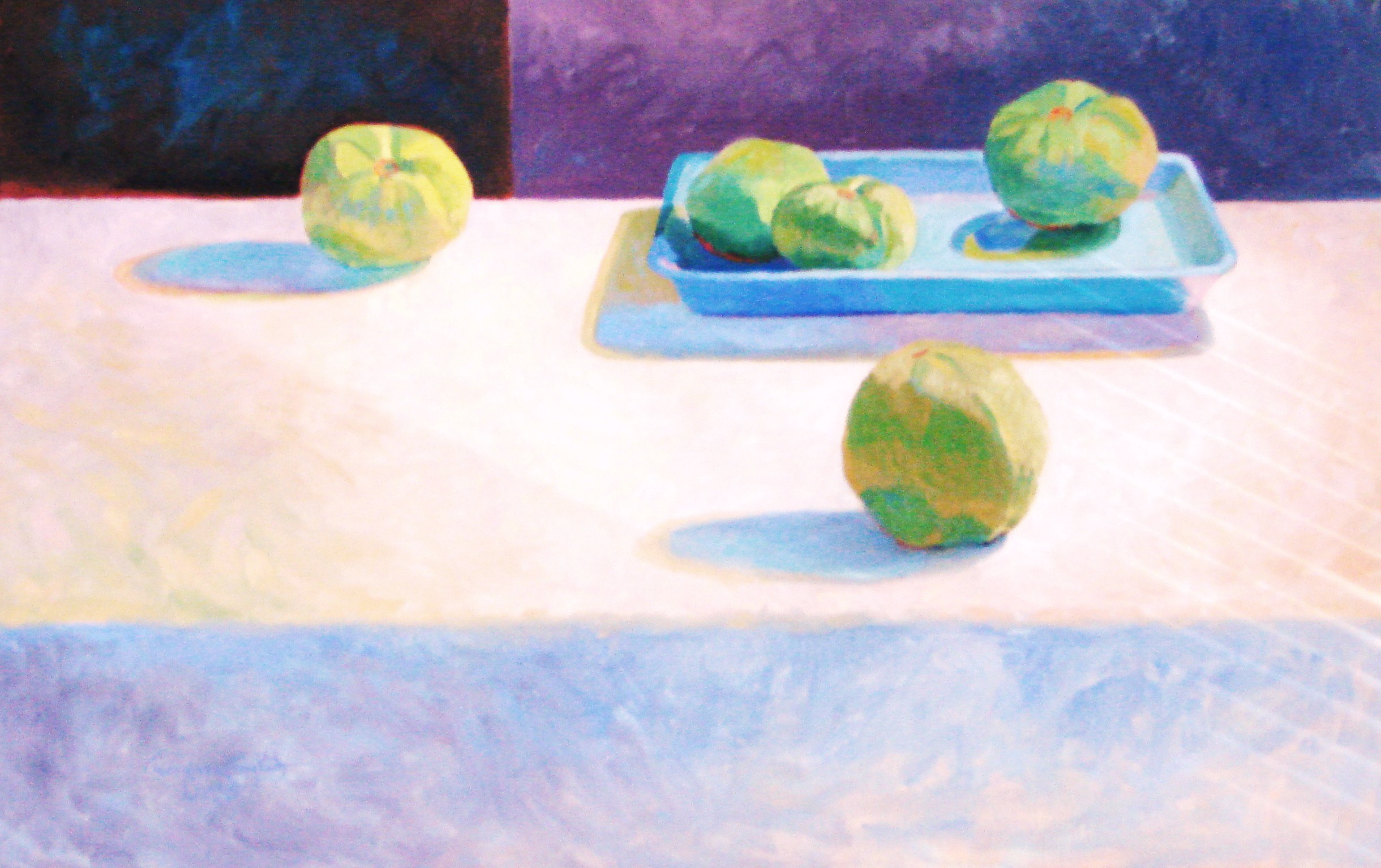 "FIVE GREEN TOMATOES . 12"" x 28"" . OIL ON CANVAS"