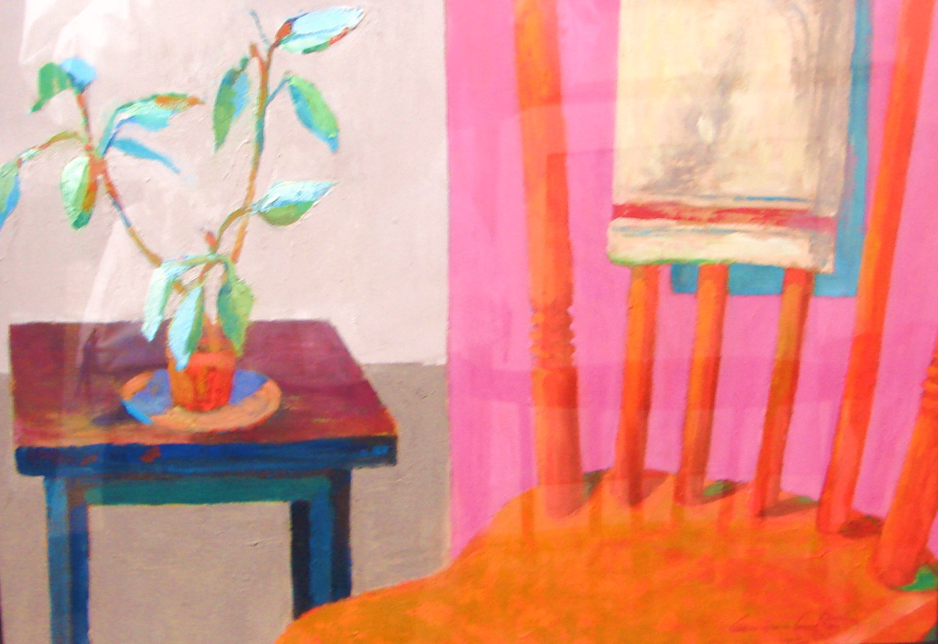 "INTERIORS-RED CHAIR WITH POTTED PLANT . 12"" x 18"" . OIL ON PAPER"