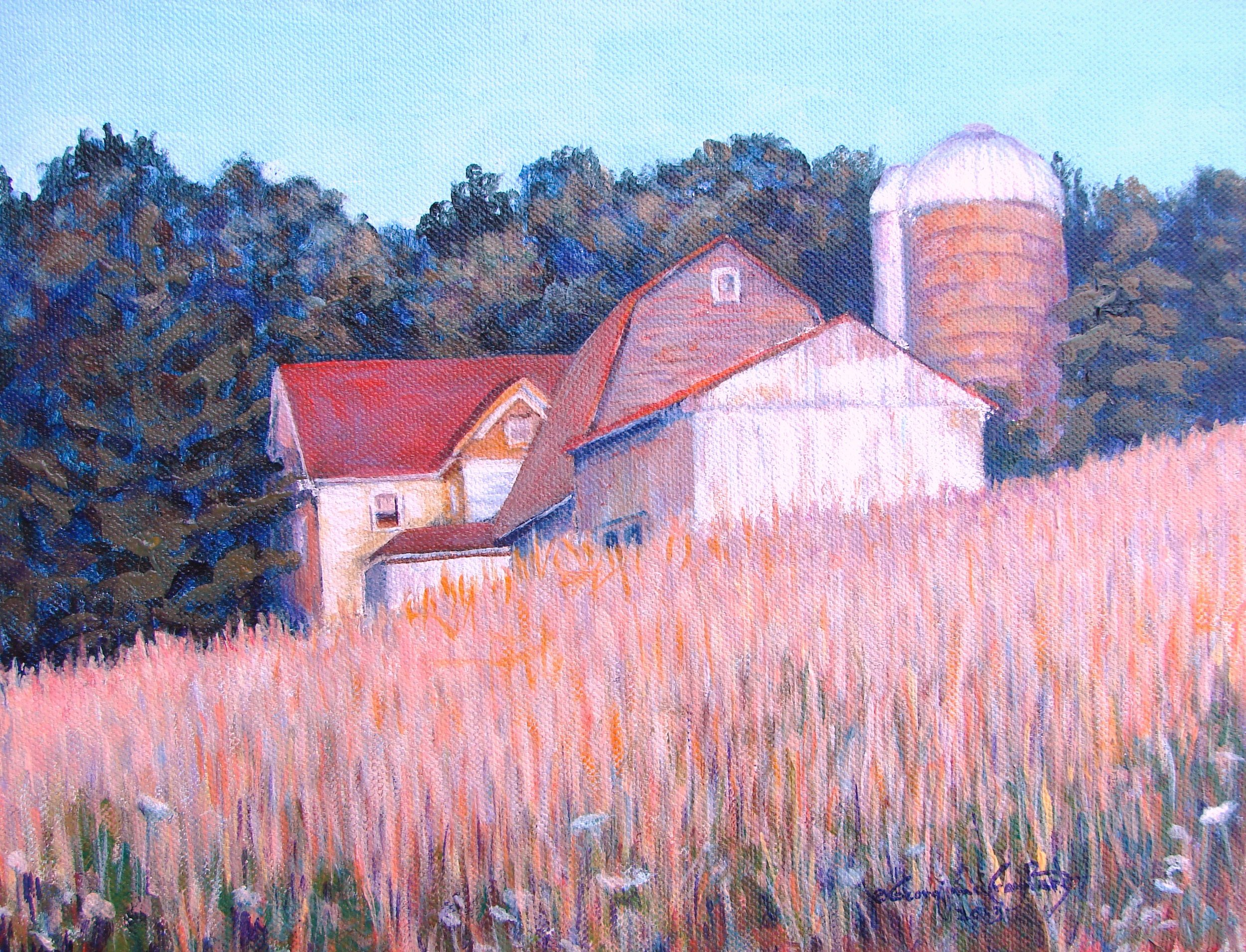 "FARM HOUSE ON THE WAY TO SOARING GARDENS . 17"" x 15"" . ACRYLIC"