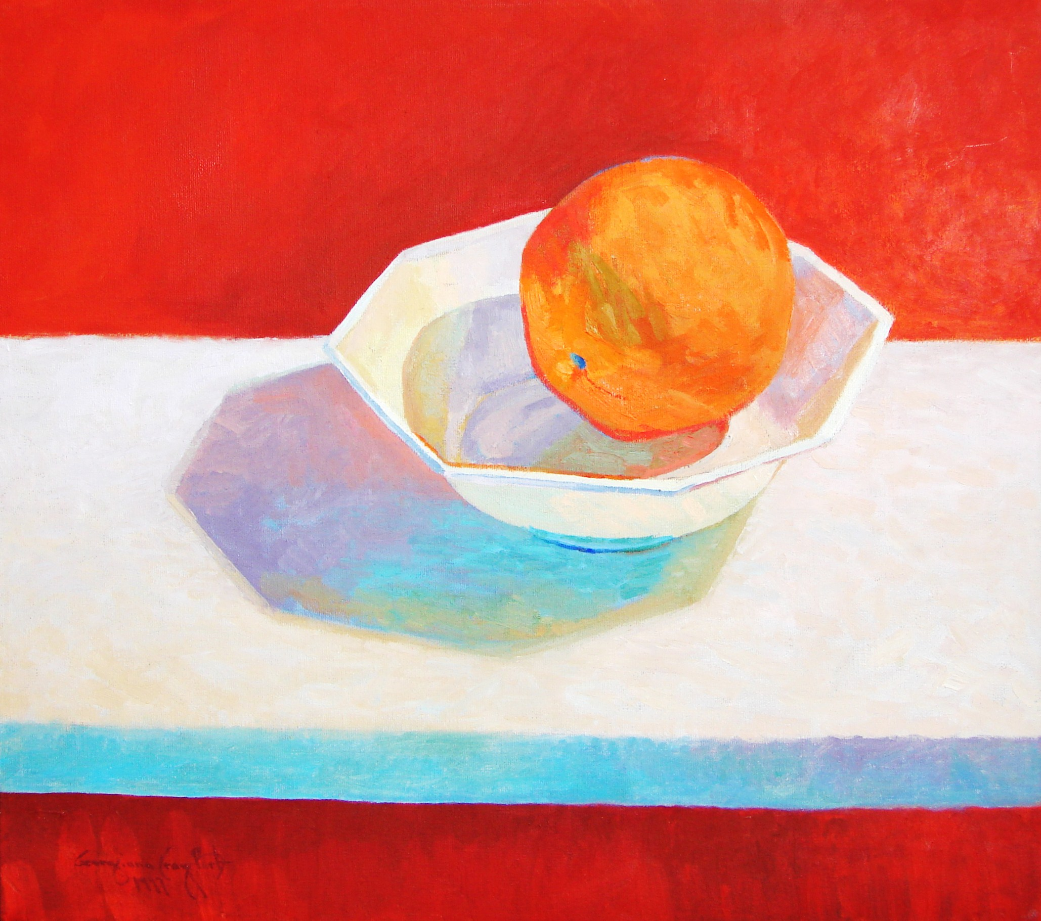 "ORANGE IN A BOWL WITH BLUE LINE . 16"" x 18"" . OIL ON CANVAS"