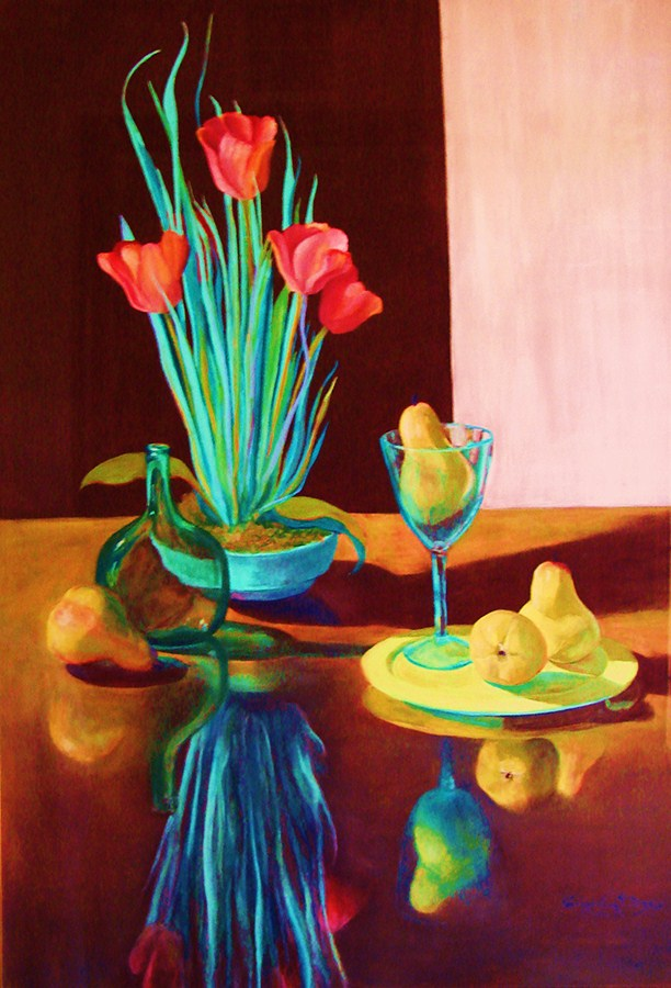 Aunt Mary Alice's Tulips with Pears_pastel_40 x 29_ $3000..JPG