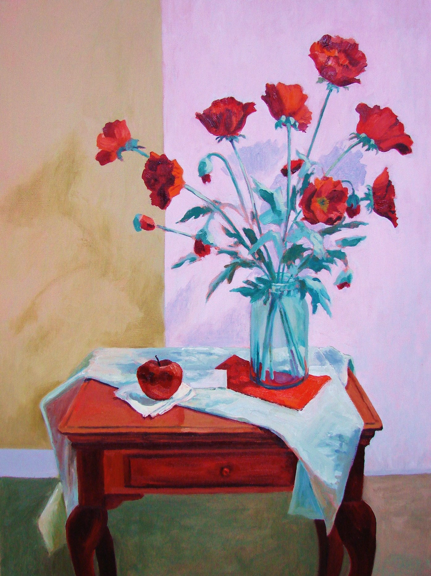 Gram's Sewing Table With Poppies.JPG