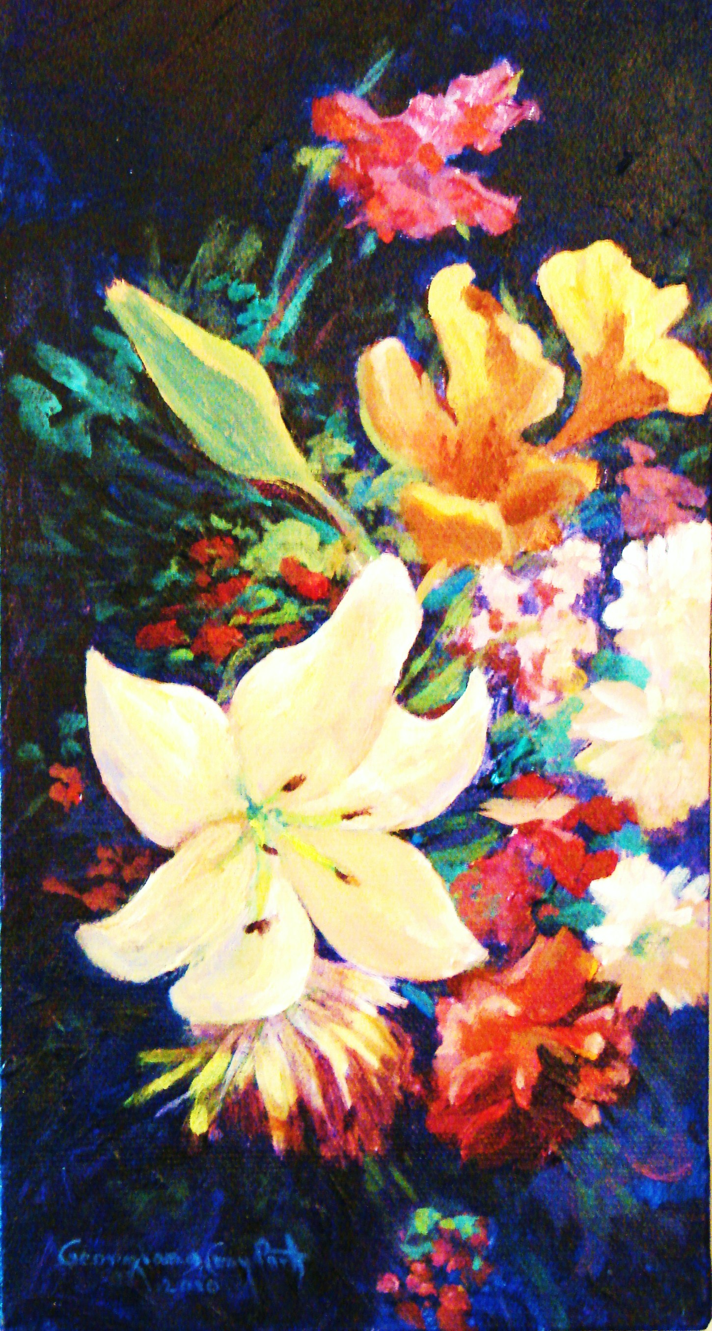 MOTHER'S DAY FLOWERS #1ACRYLIC ON CANVAS 11X6.JPG