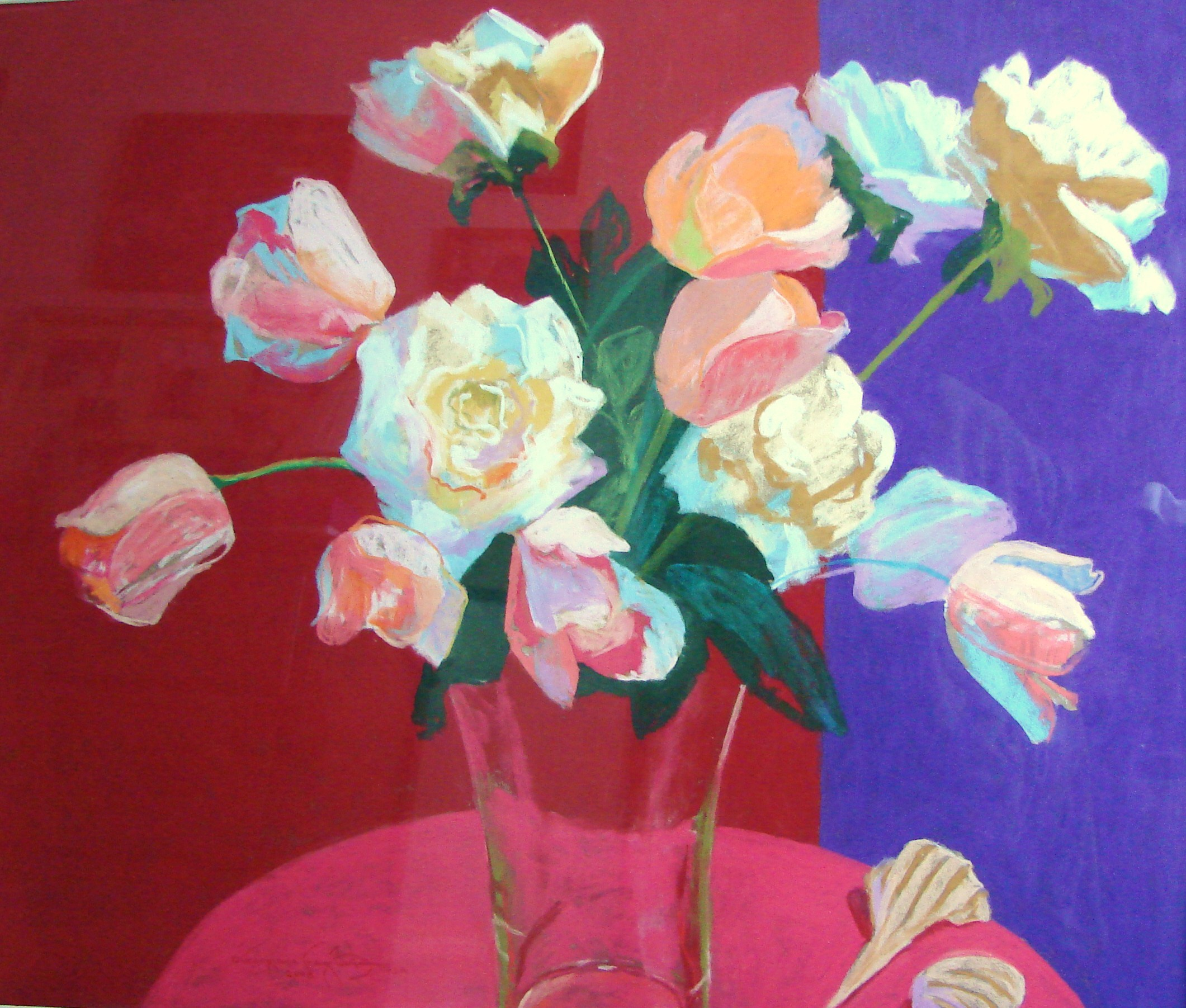 Bart_Tuips and Roses with Shells_  pastel_28x24_$1200..JPG