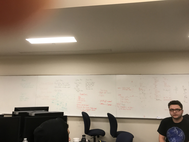 After we've brainstormed, we started writing down every idea we had for improving the game on the whiteboard.
