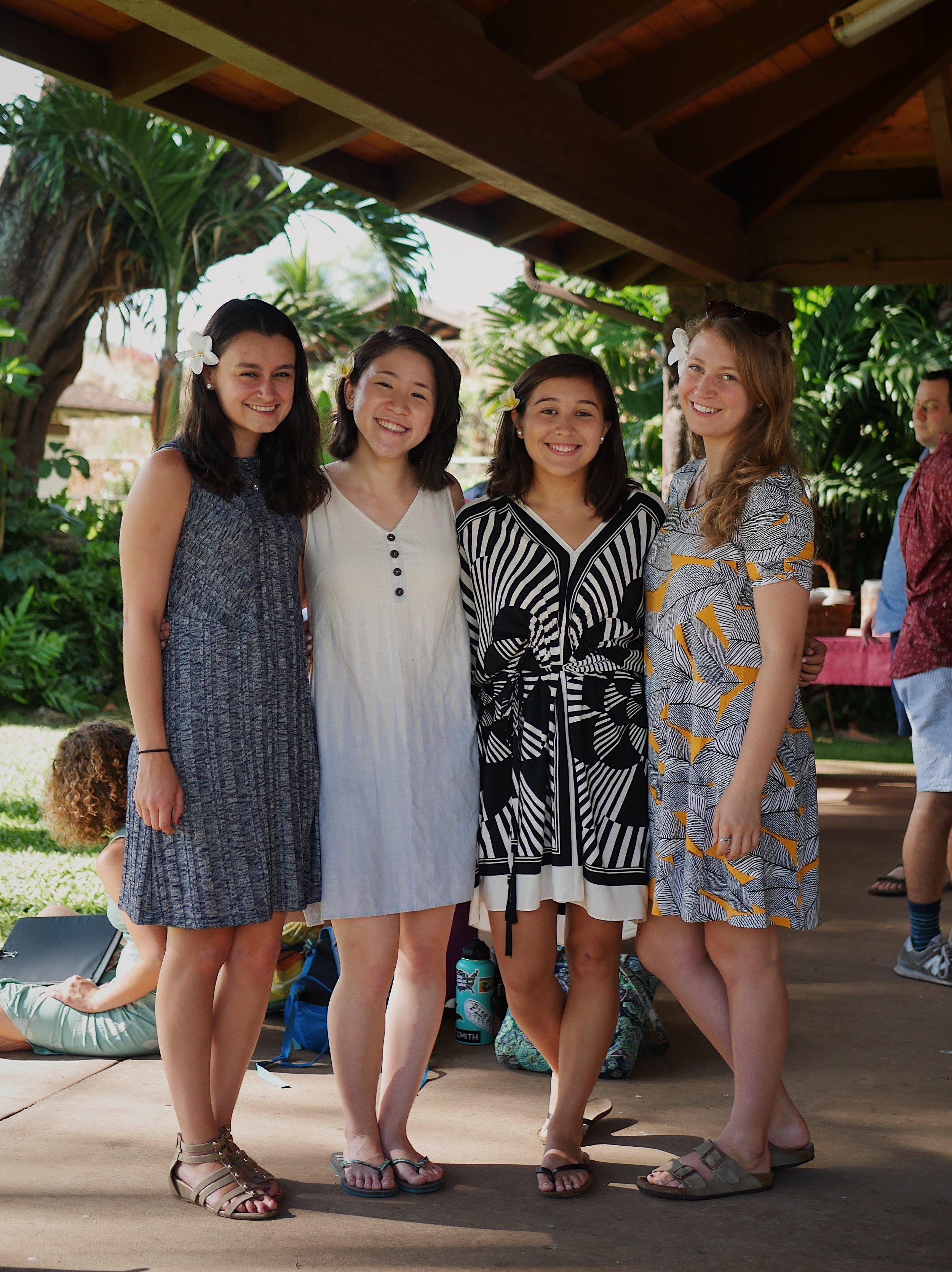 Michelle Carfagno, Stephany Kim, Izumi Matsuda, and Chiara Alvisi outside the Keawala'i Congregational Church