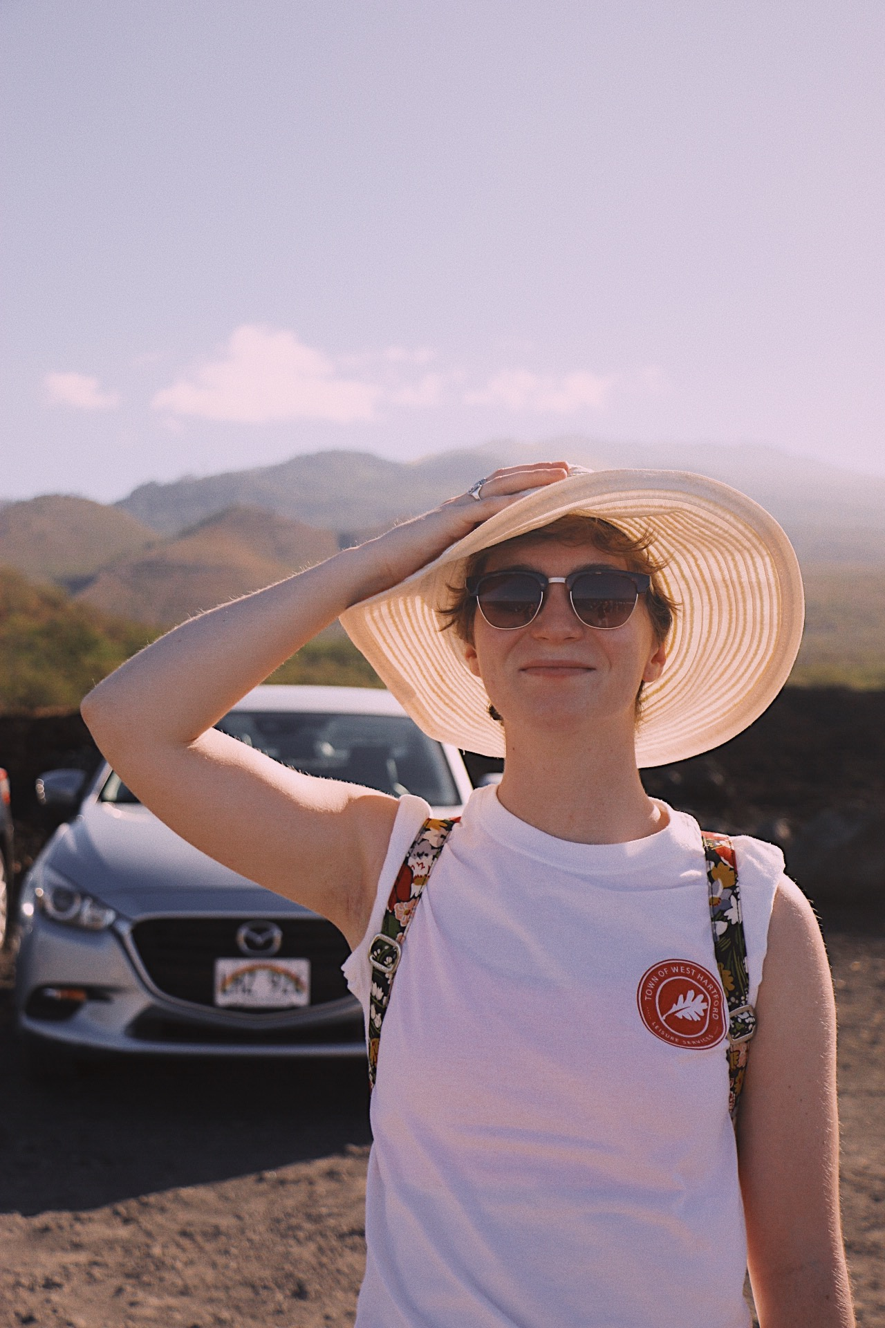 Brigid Lucey smiles after a hike through the lava fields at Keoneʻōʻio Bay (La Perouse Bay)