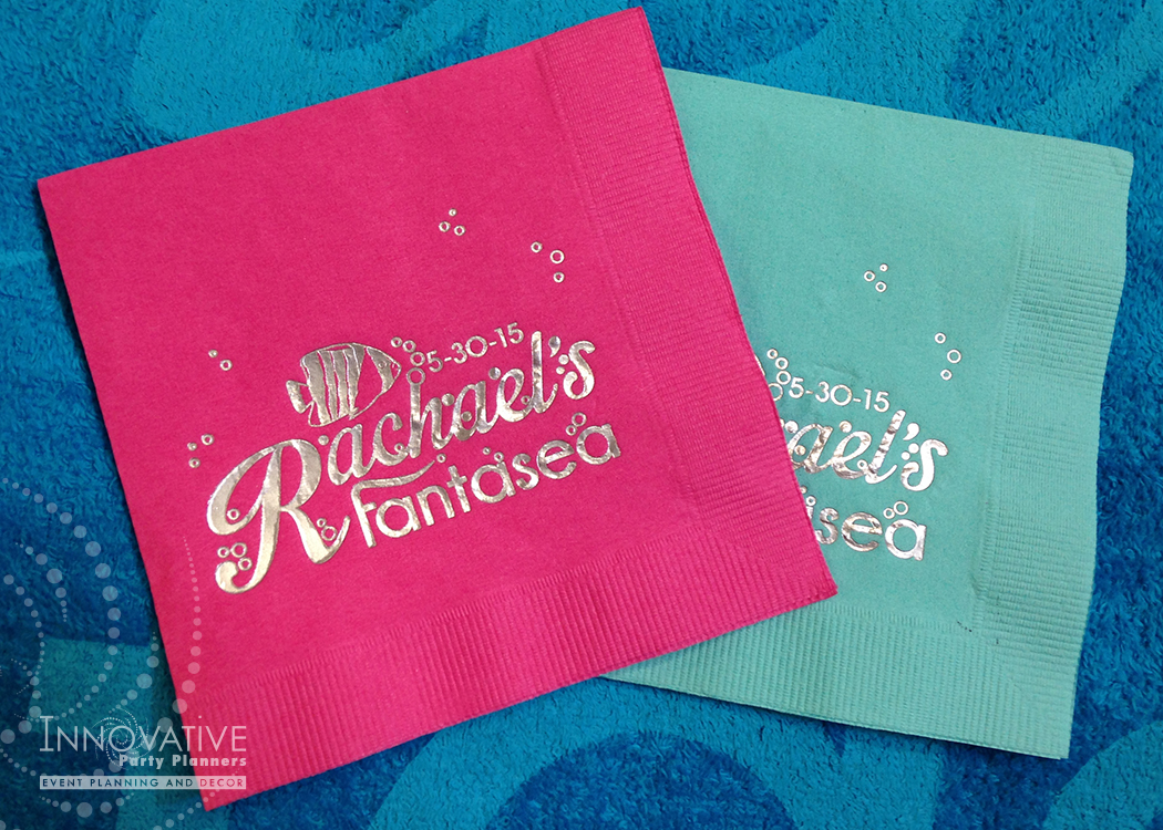 Custom cocktail napkins in pop of pink and aqua blue