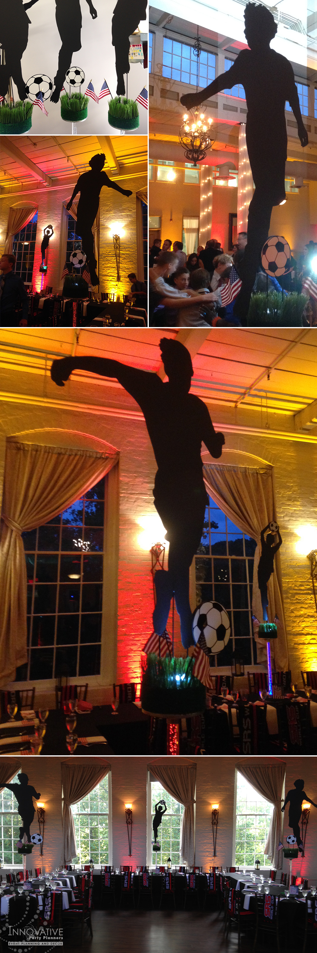 Soccer Centerpieces featured hand cut custom silhouettes of the Bar Mitzvah teen