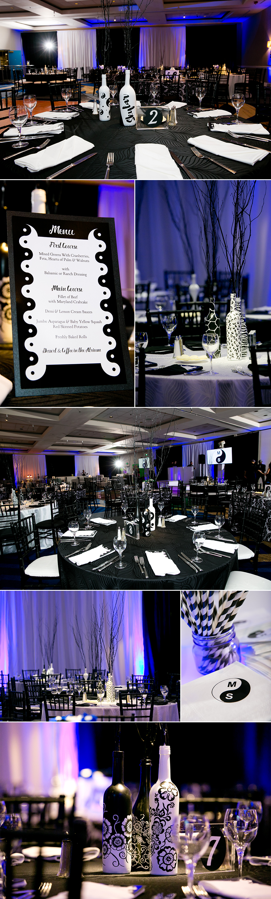 The Loews Annapolis ballroom was contemporary styled with black and white linens, furniture and decor. We accented it with royal blue touches.