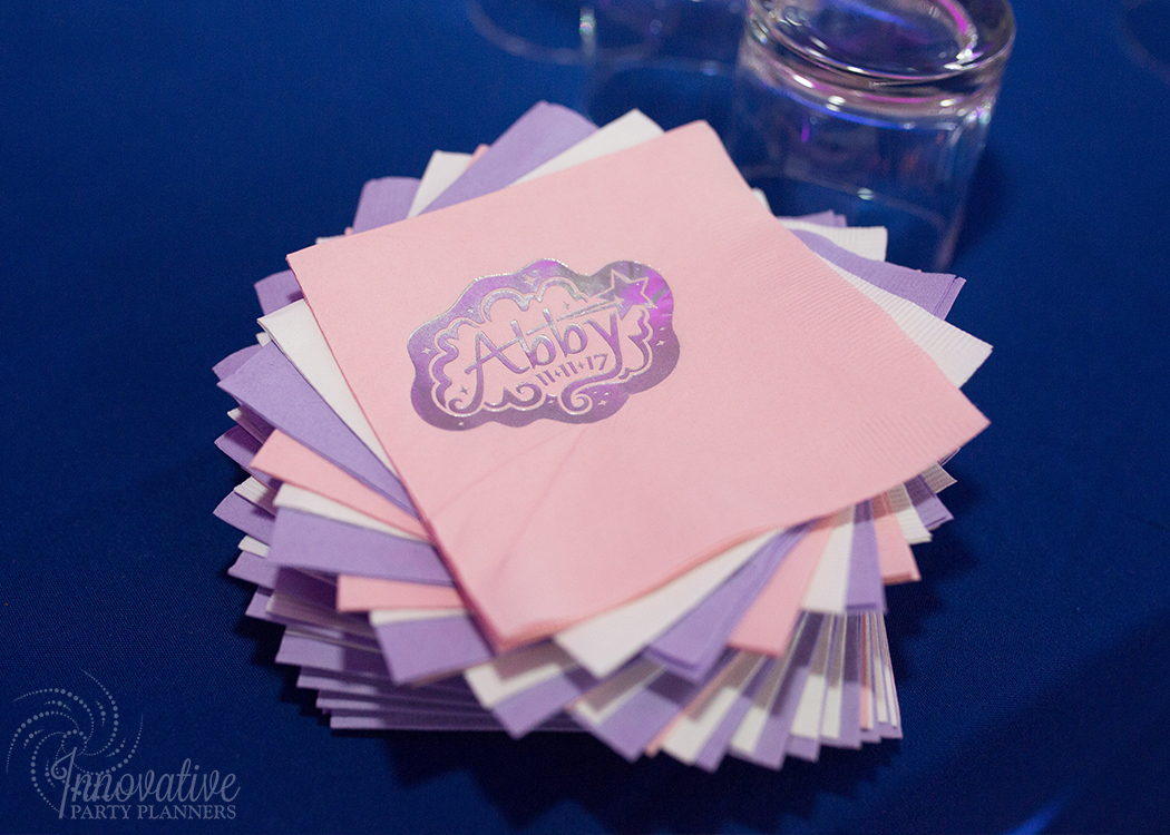 Abby's Starry Night | Abby's Starry Night | Custom Beverage Napkins with party logo by Innovative Party Planners