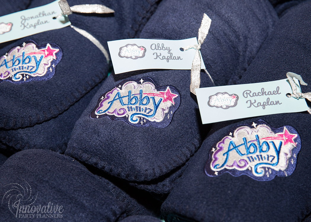 "Abby's Starry Night | Emroidered Fleece Blanket Party Favors ""Make A Wish"" by Innovative Party Planners"