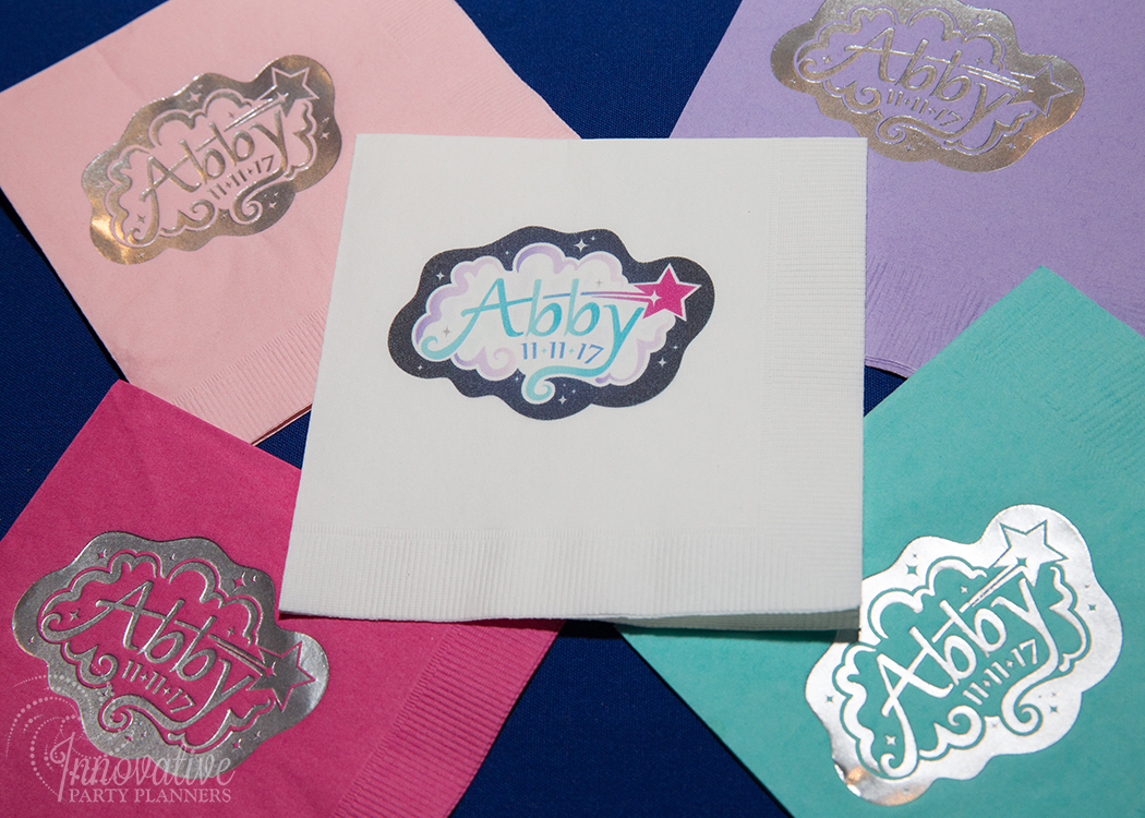 Abby's Starry Night | Custom Beverage Napkins with party logo by Innovative Party Planners