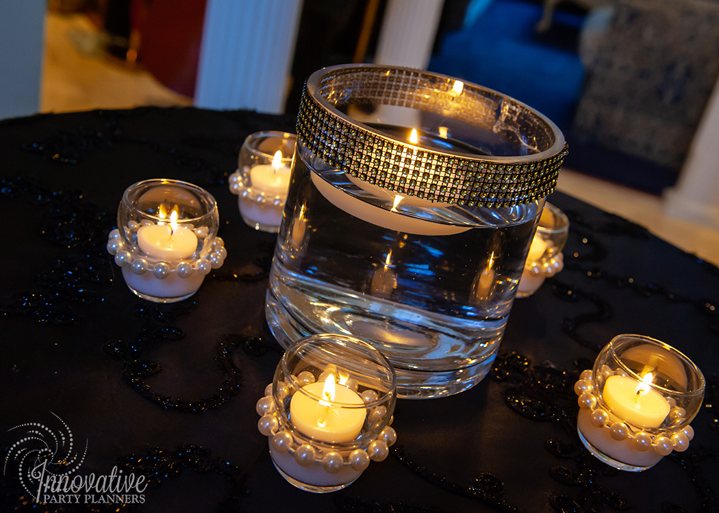 Fairwell to the Roaring Twenties | Cocktail Table Diamond and Pearls Centerpiece by Innovative Party Planners