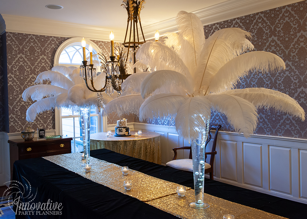 Fairwell to the Roaring Twenties | Orstrich Feathers and Pearls Centerpieces by Innovative Party Planners
