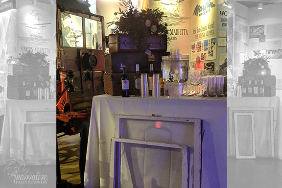 Dance Floor Bar Suitcase and Flowers_1940s Themed Decor_InnovativePartyPlanners2018.jpg
