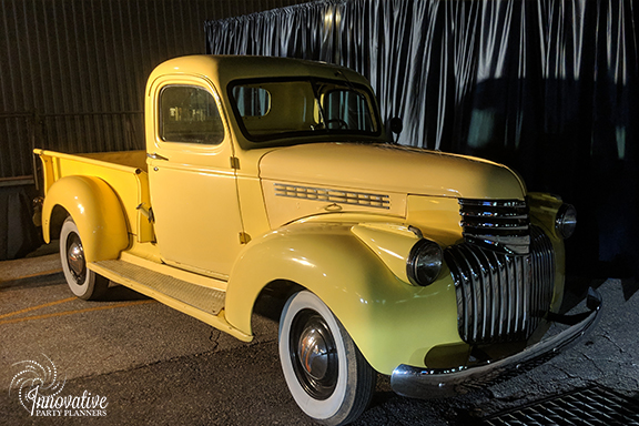 Yellow Pickup Truck Photo Opp_1940s Themed Decor_InnovativePartyPlanners2018.jpg