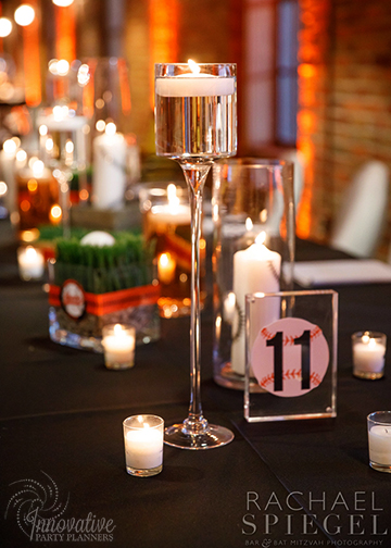 Bar Mitzvah Camden Yards_2-16-19_Long Table with Assorted Centerpieces by IPP_4.jpg