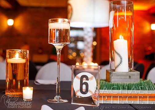 Bar Mitzvah Camden Yards_2-16-19_Long Table with Assorted Centerpieces by IPP_3.jpg
