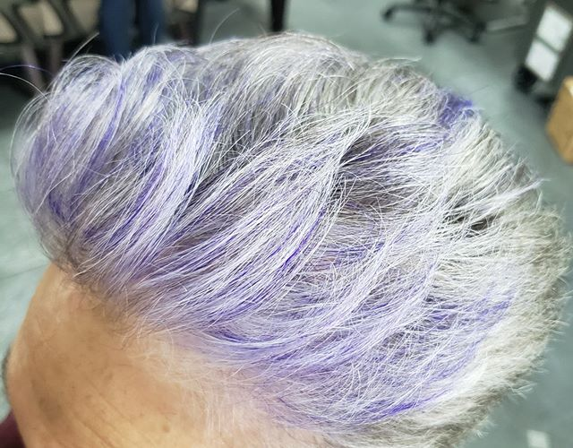A little purple flair in this gorgeous grey hair 🎆 by Debi Towle