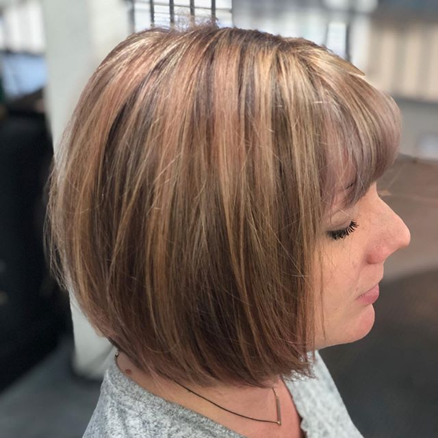 A few foils here and there with a dash of blush and smoke brings this dimensional #bobhaircut to life! Hair by Christy McKee ✌️