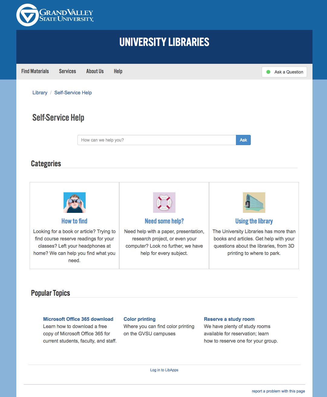 Grand Valley State University knowledge base
