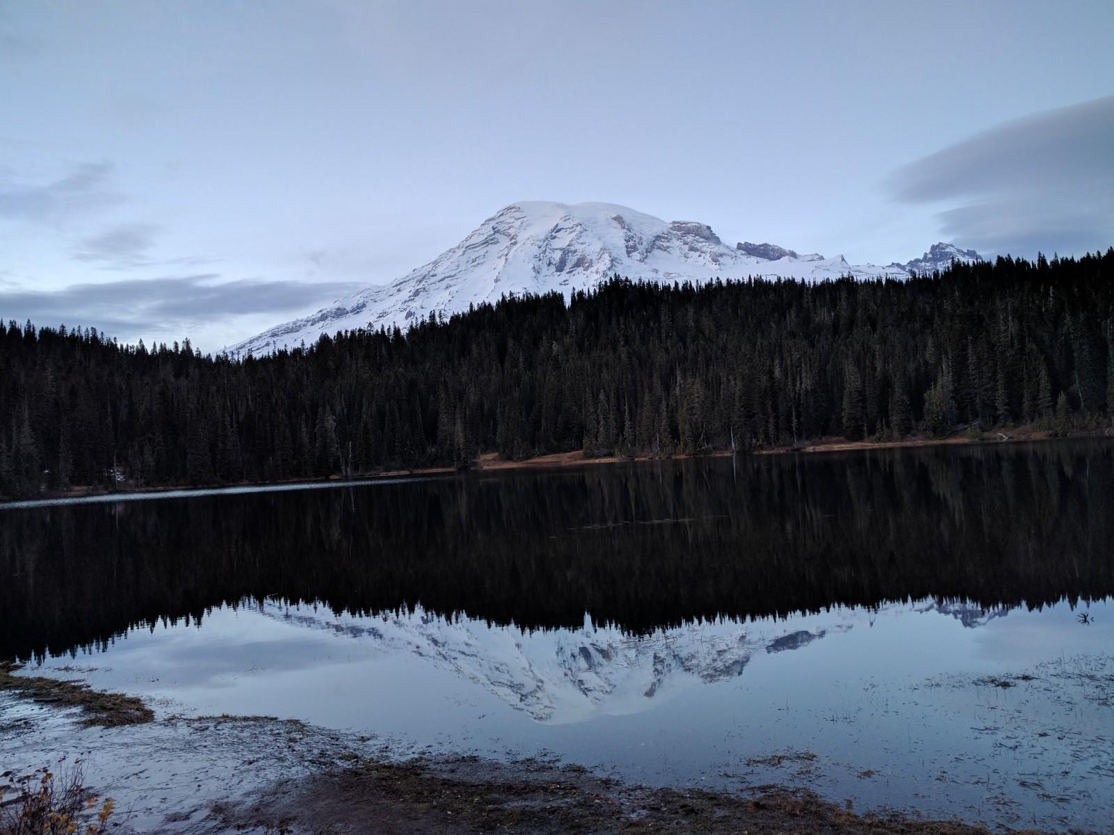 Mt. Rainier from Reflection Lakes, Mt. Rainier National Park, Washington.